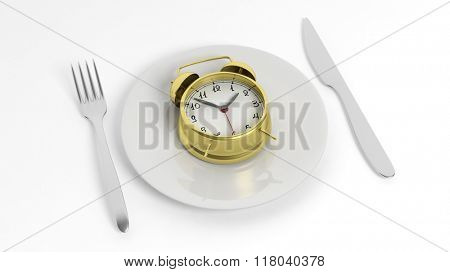 Fork, knife and golden alarm clock on plate, isolated on white background.