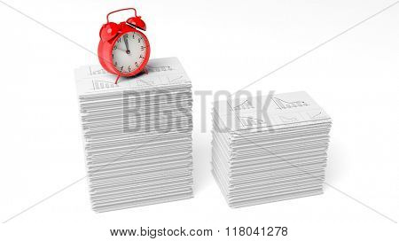 Red alarm cloack on a pile of paperwork with graphs, isolated on white background.