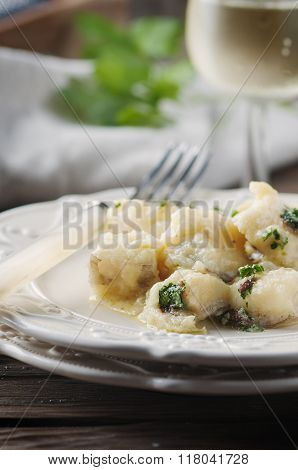 Italian Traditional Codfish With Onion And Parsley