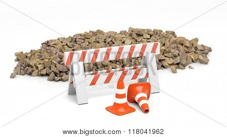 Safety cone and barrier and pile of stones, isolated on white background.