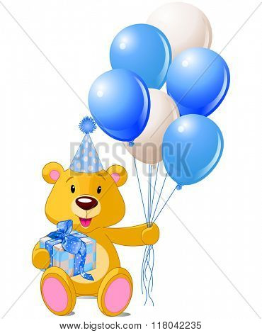 Teddy Bear sitting with blue gift box and balloons