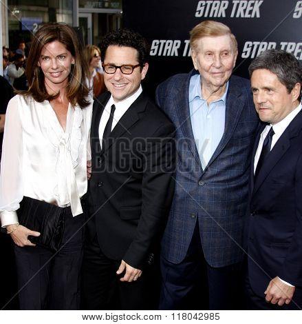 Katie McGrath, J.J. Abrams, Sumner Redstone and Brad Grey at the Los Angeles Premiere of
