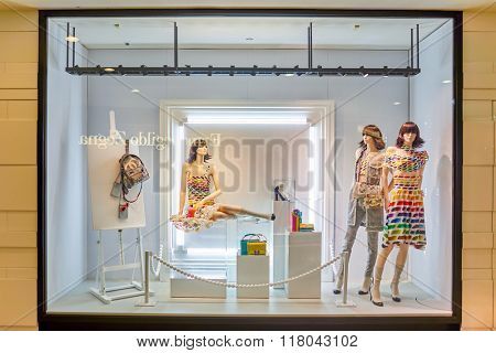 KUALA LUMPUR, MALAYSIA - APRIL 23, 2014: Chanel store shopwindow. Chanel S.A. is a high fashion house that specializes in haute couture and ready-to-wear clothes, luxury goods and fashion accessories