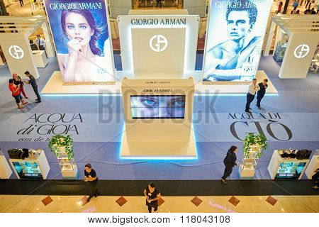 KUALA LUMPUR, MALAYSIA - APRIL 23, 2014: Giorgio Armani advertisement at Suria KLCC. Giorgio Armani S.p.A. is an Italian fashion house founded by Giorgio Armani
