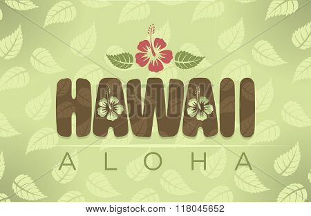 Vector Hawaii word with hibiscus flowers in vintage colors