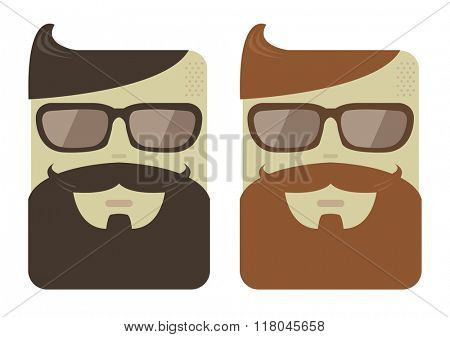 Vector cartoon male faces with hipster beards and haircut