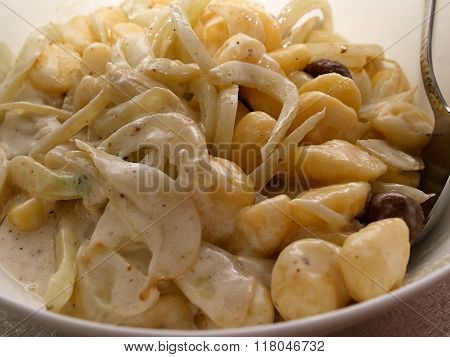Italian Potato Gnocchi Pasta With Cheese Sauce And Mushrooms