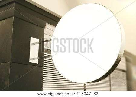 Blank White Round Signboard On The Wall Of Building Outdoor, Mock Up