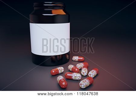 Bank Of Pills On The Table, Mock Up