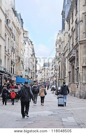 Paris, France, February 9, 2016: view of a street in a center of Paris, France