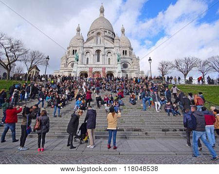 Paris, France, February 6, 2016: The Sacr�©-Coeur Basilica on Montmartre, well-known bohemian area in Paris, France,