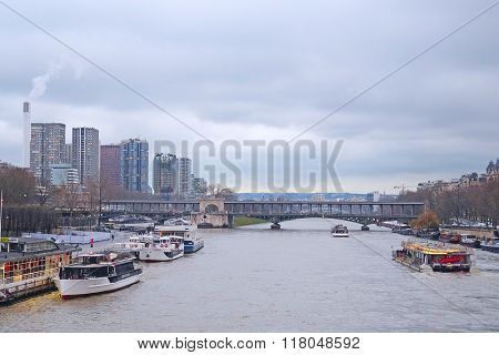 Paris, France, February 9, 2016: river Sena in Paris, France