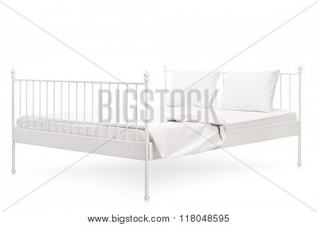 Studio shot of a white modern bed isolated on white background