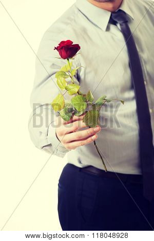 Handsome man holding red rose.