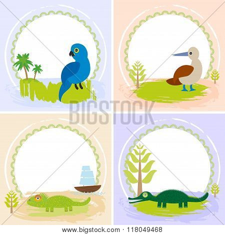 crocodile, alligator, iguana, parrot bird, booby, set of cards design  with funny animals, template