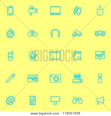 Gadget Line Icons Blue Color