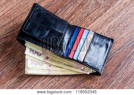 Leather Black Wallet With Ukrainian Money And Credit Cards