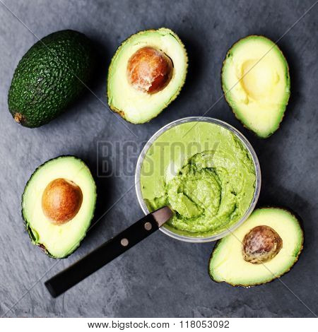 Avocado. Halved Avocado. Avocado Spread. Avocado Pasta. Guacamole, Top View Image With Copy