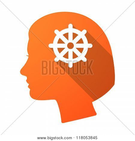 Long Shadow Female Head With A Dharma Chakra Sign