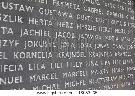BELZEC, POLAND - MAY 3, 2013: Fragment of monument to the victims of the Nazi German extermination camp.  Table with hundreds of first  names of victims of the extermination.