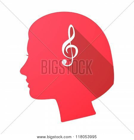 Long Shadow Female Head With A G Clef