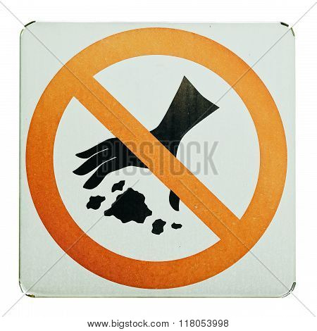 No throwing garbage warning sign isolate for white background