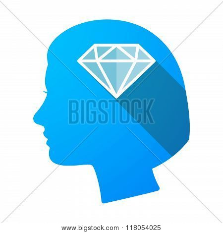 Long Shadow Female Head With A Diamond