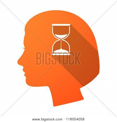 Long Shadow Female Head With A Sand Clock