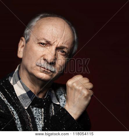Closeup Portrait Of An Old Man