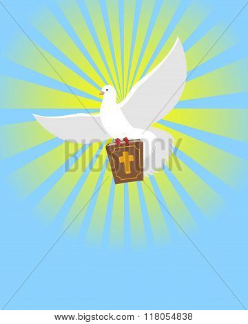 Dove And Bible. Holy Bible In Its Paws White Pigeon. Background Of Divine Light. Big Book Of God. Wh