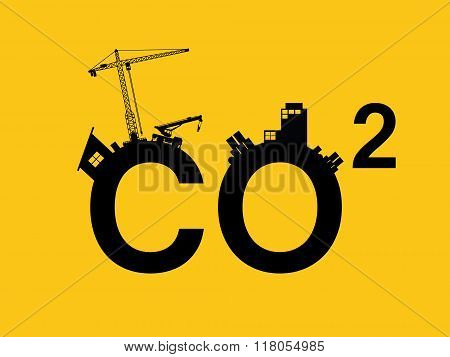 co2 pollution illustrated in text with city polluction sillhouette