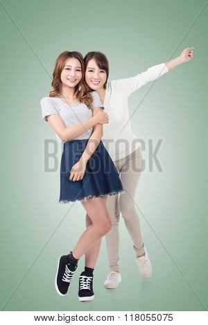 Happy smile Asian women, full length portrait isolated.