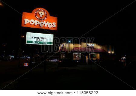 Popeye's Louisiana Kitchen at Night