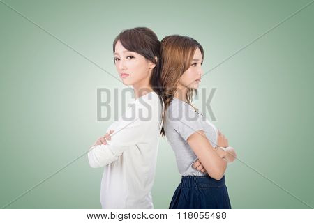Unhappy Asian woman with her friend, closeup.