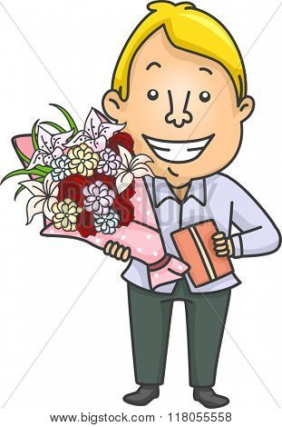 Illustration of a Man Carrying a Gift Together with a Bouquet of Flowers