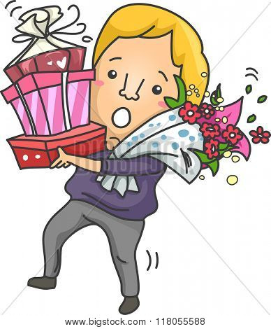 Illustration of a Clumsy Man Carrying a Tall Stack of Gifts