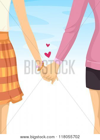 Illustration of an Couple Relationship of Lesbians Holding Hands