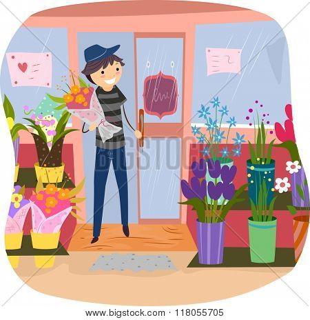 Stickman Illustration of a Man Coming Out of a Flower Shop