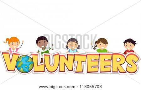 Illustration of Stickman Kids Proud to be Volunteers