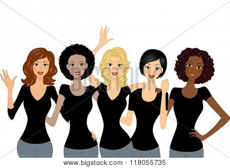 Illustration of a Culturally Diverse Group of Girls Wearing Black Shirts