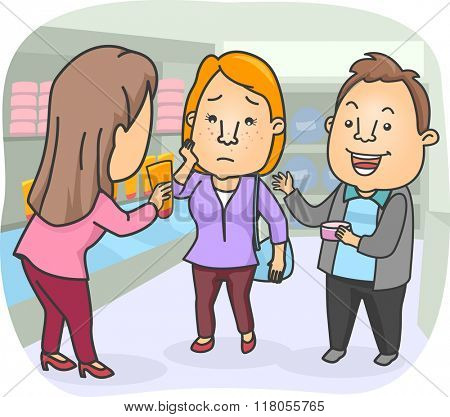 Illustration of a Woman Selling Anti Acne Products to a Couple