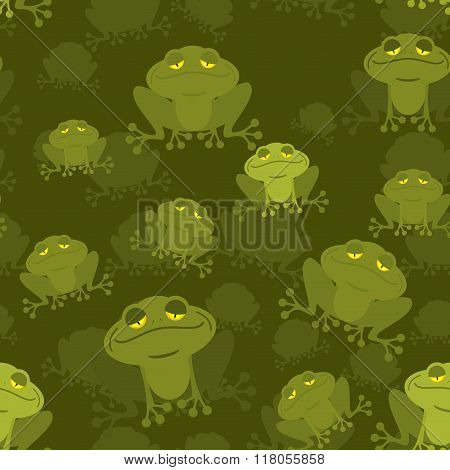 Frog Seamless Pattern. Green Toad In Swamp. Many Amphibious Animal Texture. Green Swamp Reptile.