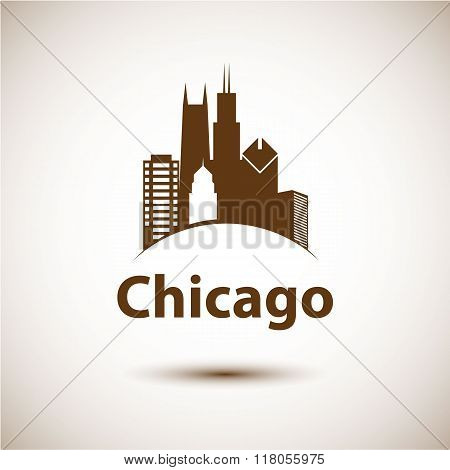 Chicago USA skyline silhouette, black and white design