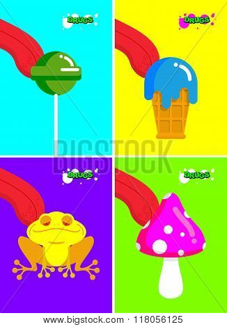 Narcotic Substances. Acidic Lollipop And Frog. Narcotic Sweetness And Mushrooms. Tongue Licking Addi