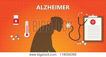 alzheimer old people illustration with medicine and medical health