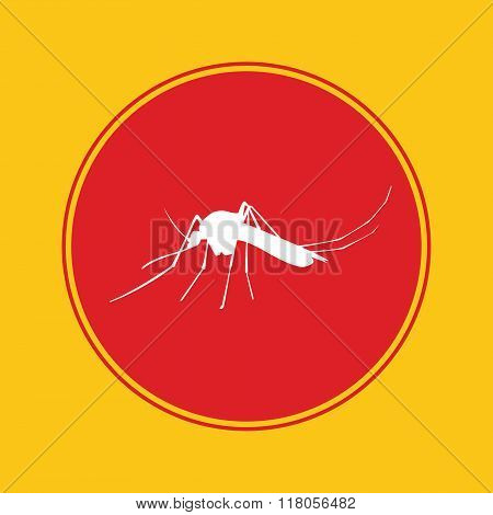mosquito icon with red danger alert