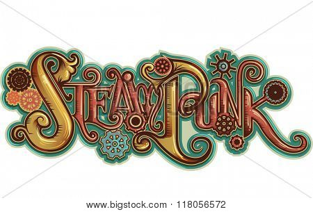 Illustration of an Artistic Steampunk Lettering