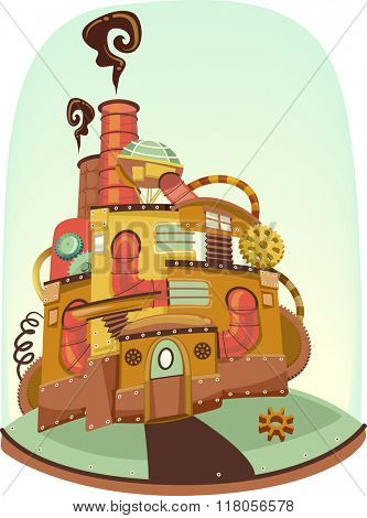 Illustration of a Post Acopalyptic Steampunk House