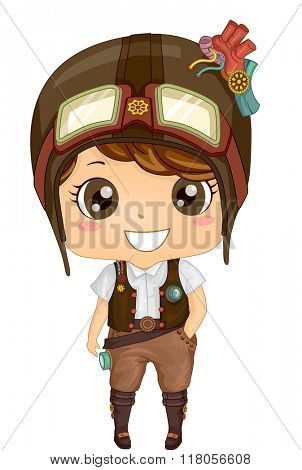 Illustration of a Kid Boy Wearing a Steampunk Outfit