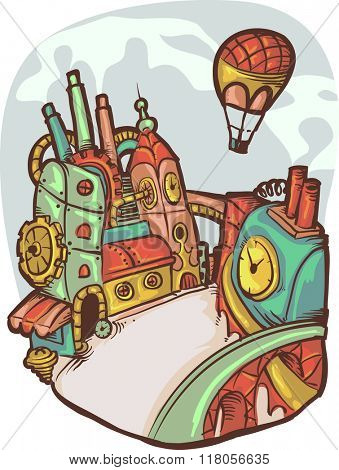 Illustration of a Futuristic Steampunk Doodle City
